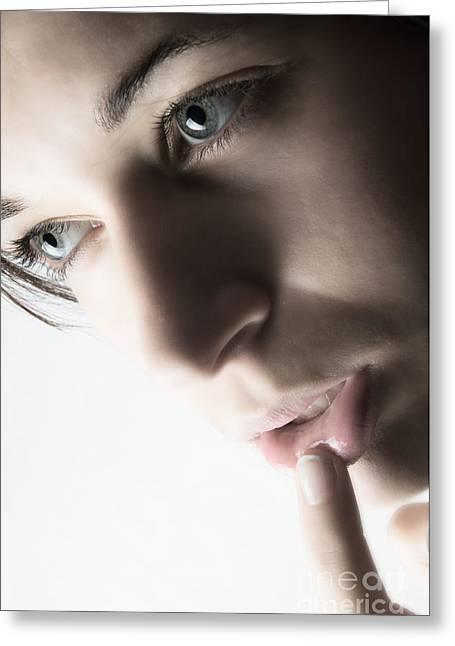 Close Up Of Beautiful Female Model Greeting Card by Michal Bednarek