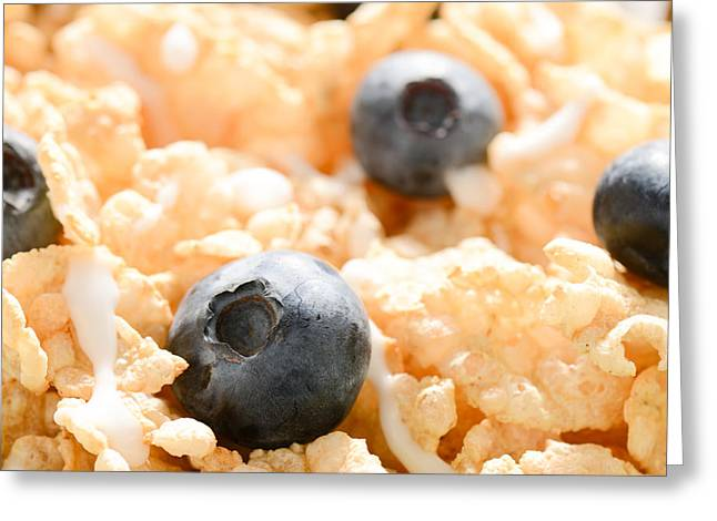 Granola Greeting Cards - Close Up of Cereal with Blueberries and Milk Greeting Card by Brandon Bourdages