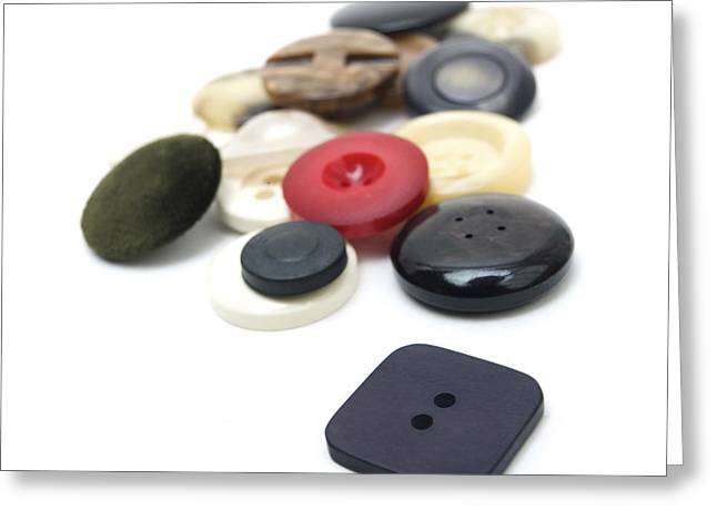 Buttons Greeting Cards - Close-up of coloured buttons Greeting Card by Bernard Jaubert