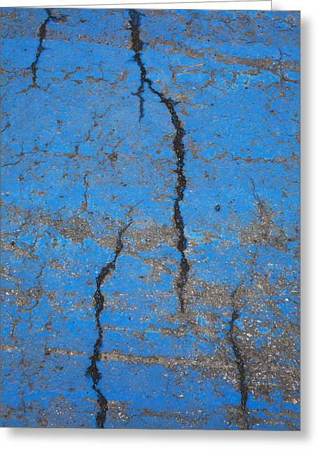 Old Roadway Greeting Cards - Close Up Of Cracks On A Blue Painted Greeting Card by Perry Mastrovito