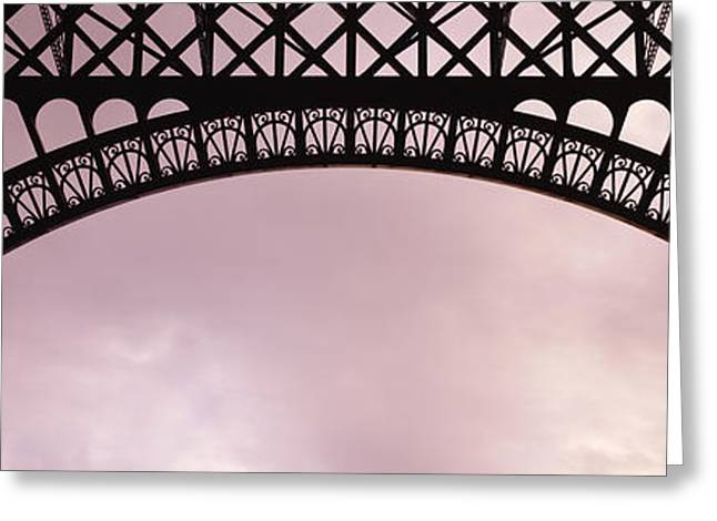 Grey Clouds Greeting Cards - Close Up Of Eiffel Tower, Paris, France Greeting Card by Panoramic Images