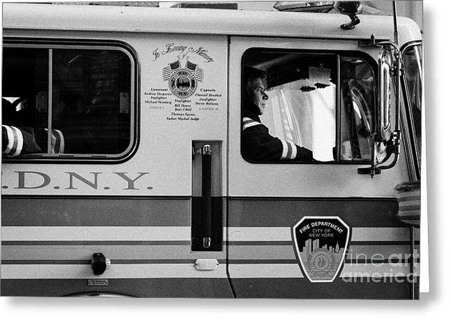 close up of FDNY fire engine and driver new york city Greeting Card by Joe Fox