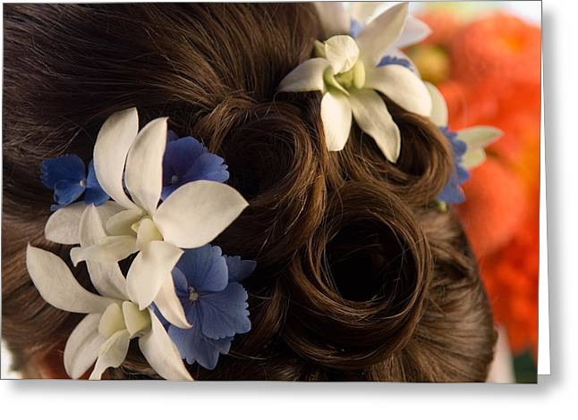 Bun Photographs Greeting Cards - Close-up Of Flowers In A Brides Hair Greeting Card by Panoramic Images