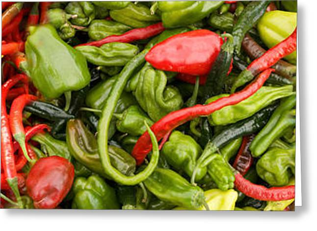 Chili Peppers Greeting Cards - Close-up Of Green And Red Chili Peppers Greeting Card by Panoramic Images