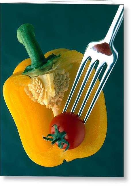 Yellow Pepper Greeting Cards - Close Up Of Half Yellow Pepper Greeting Card by Panoramic Images