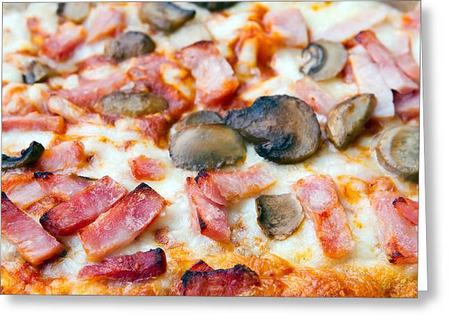 Mozzarella Greeting Cards - Close Up Of Ham And Mushroom Pizza Greeting Card by Fizzy Image