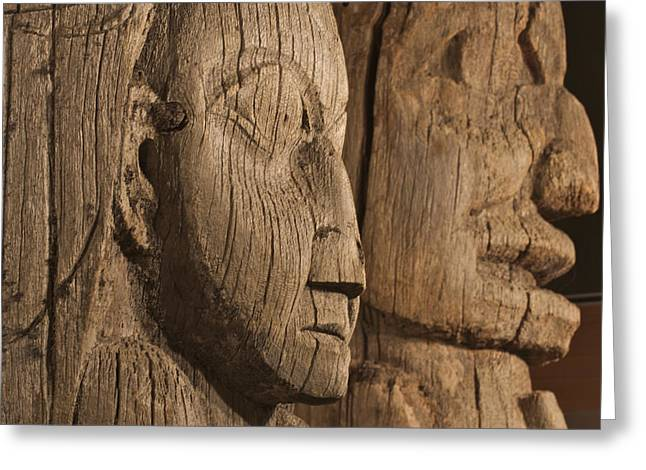 Wooden Sculpture Greeting Cards - Close Up Of Historic Totem Poles In Greeting Card by Clark Mishler