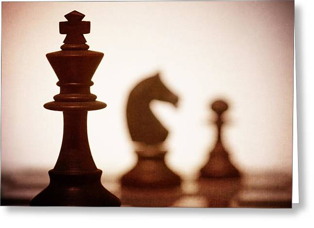 Close Up Of King Chess Piece Greeting Card by Amanda And Christopher Elwell
