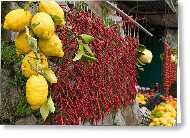 Greengrocer Greeting Cards - Close-up Of Lemons And Chili Peppers Greeting Card by Panoramic Images