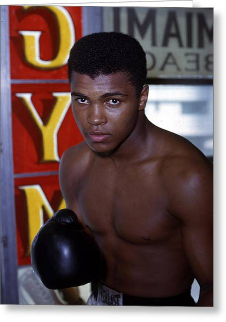 Intensity Greeting Cards - Close Up Of Muhammad Ali Greeting Card by Retro Images Archive