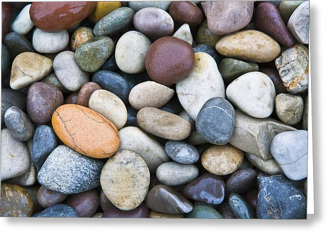 Beach Stones. Colorful Rocks Greeting Cards - Close-up Of Multi-colored Stones Greeting Card by John Delapp