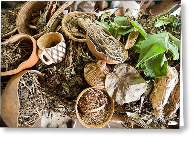 Wicker Baskets Greeting Cards - Close-up Of Natural Herbs And Healing Greeting Card by Panoramic Images