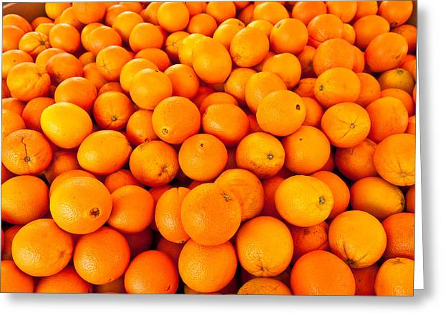 Healthy Greeting Cards - Close-up Of Oranges, Santa Paula Greeting Card by Panoramic Images