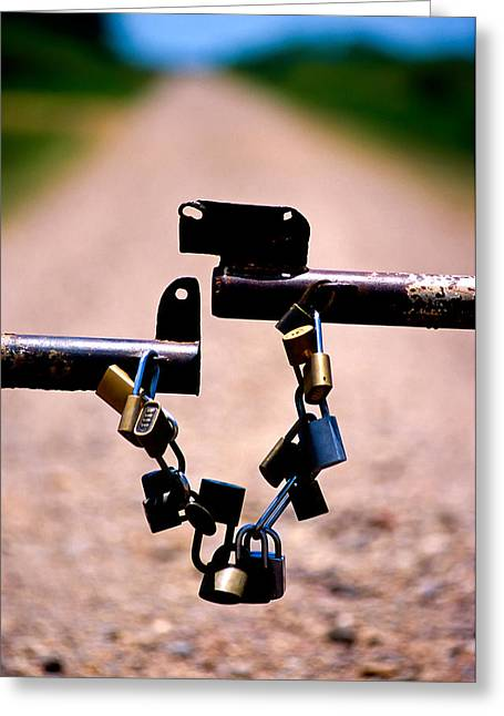 Padlock Greeting Cards - Close-up Of Padlocks On A Barrier Greeting Card by Panoramic Images