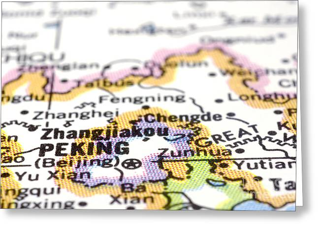 Beijing Map Greeting Cards - close up of Peking or Beijing on map-China Greeting Card by Tuimages