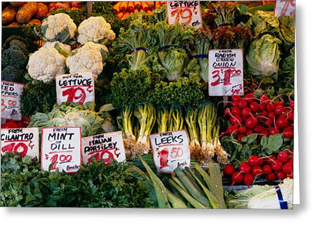 Green And Yellow Greeting Cards - Close-up Of Pike Place Market, Seattle Greeting Card by Panoramic Images