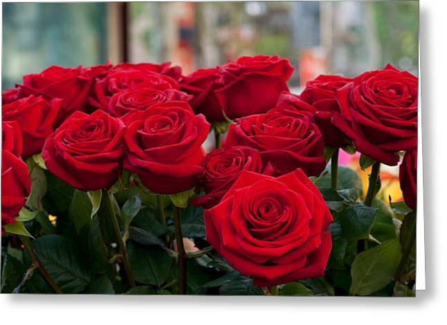 Saint George Greeting Cards - Close-up Of Red Roses In A Bouquet Greeting Card by Panoramic Images