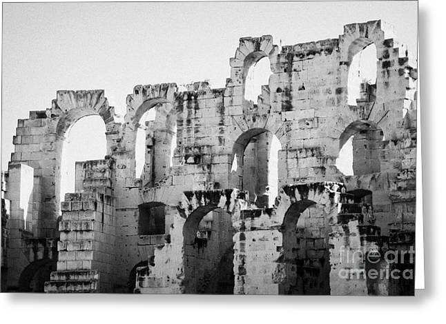 African Heritage Greeting Cards - Close Up Of Remains Of Upper Deck In The Old Roman Collosseum At El Jem Tunisia Greeting Card by Joe Fox