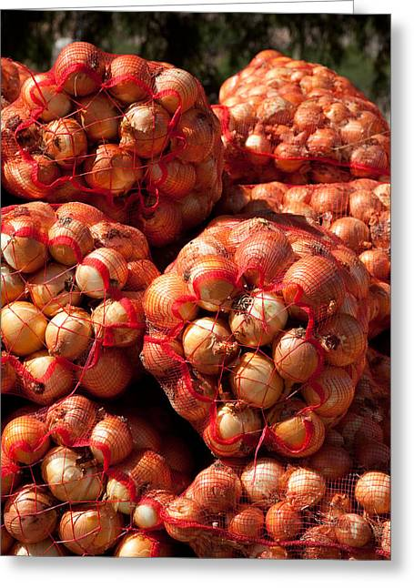 Business-travel Greeting Cards - Close-up Of Sack Of Onions, Seclantas Greeting Card by Panoramic Images