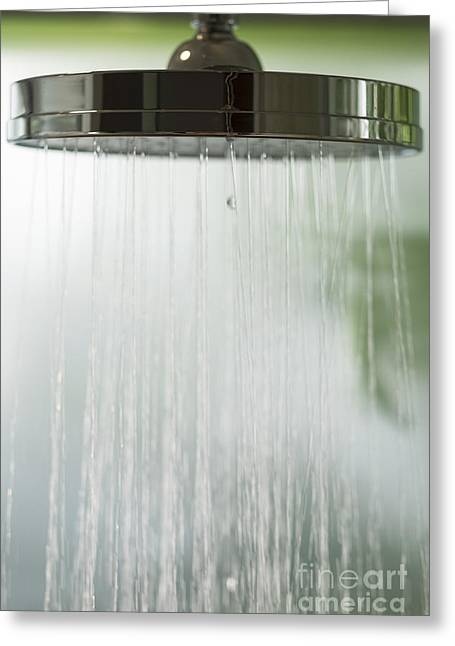 Shower Head Greeting Cards - Close up of shower head Greeting Card by Andre Babiak