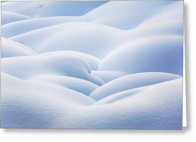Drifting Snow Greeting Cards - Close Up Of Snow Covered Round Greeting Card by Michael Interisano