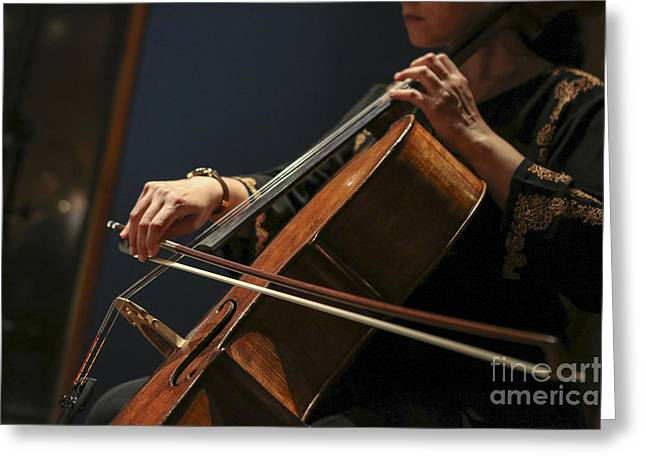 Cellist Greeting Cards - Close up of the cellists hands Greeting Card by Oren Shalev