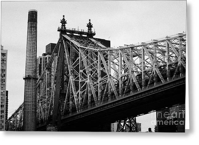Close Up Of The Iron Work On The Queensboro Bridge New York City Greeting Card by Joe Fox
