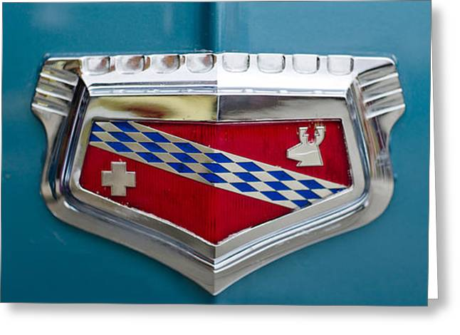 Collector Hood Ornament Greeting Cards - Close-up Of The Logo Of Chevrolets Car Greeting Card by Panoramic Images