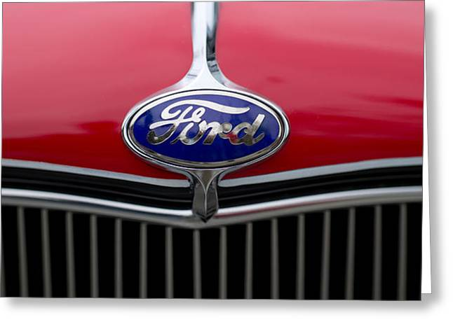 Collector Hood Ornament Greeting Cards - Close-up Of The Logo Of Fords Car Greeting Card by Panoramic Images