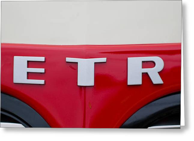 Collector Hood Ornament Greeting Cards - Close-up Of The Logo Of Metros Car Greeting Card by Panoramic Images