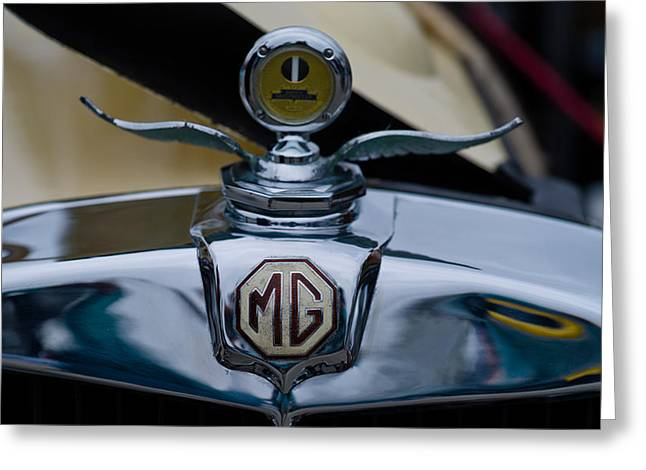 Collector Hood Ornament Greeting Cards - Close-up Of The Logo Of Mgs Car, Culver Greeting Card by Panoramic Images