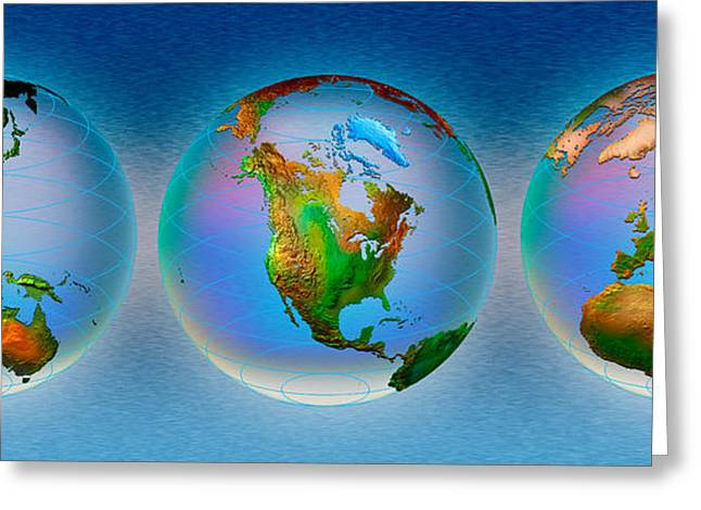 Global Communications Greeting Cards - Close-up Of Three Globes Greeting Card by Panoramic Images