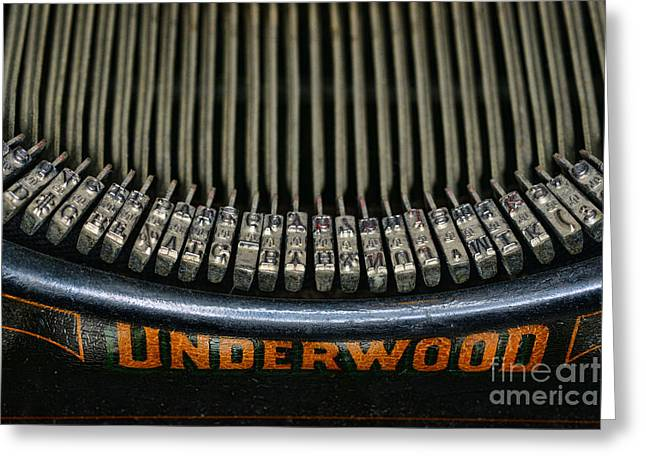 Reporter Greeting Cards - Close up of vintage typewriter keys. Greeting Card by Paul Ward