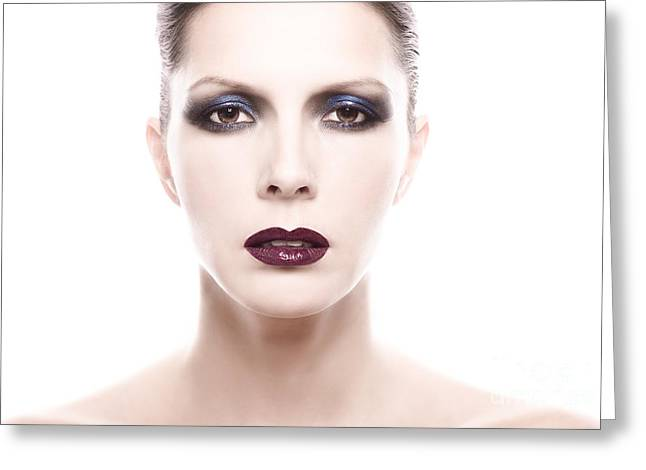 Pale Lipstick Greeting Cards - Close Up of Woman Wearing Heavy Make Up Greeting Card by Lars Zahner