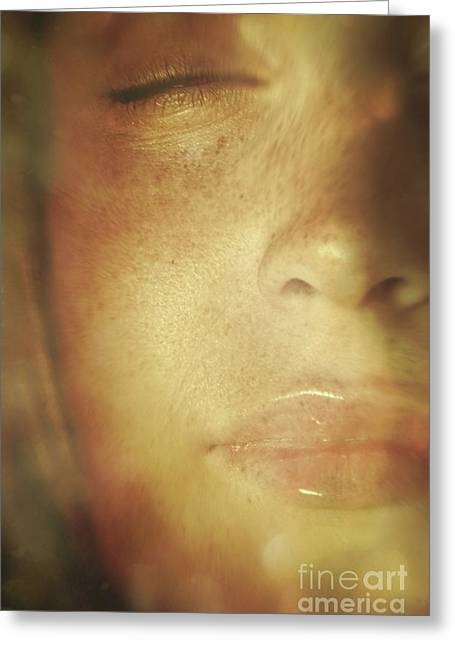 Atmospheric Greeting Cards - Close-up of  womans face in dreamlike state Greeting Card by Sandra Cunningham