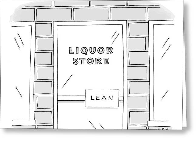Close Up View Of A Liquor Store With Door Handle Greeting Card by Kim Warp