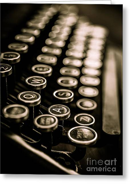 Metal Sheet Greeting Cards - Close up vintage typewriter Greeting Card by Edward Fielding