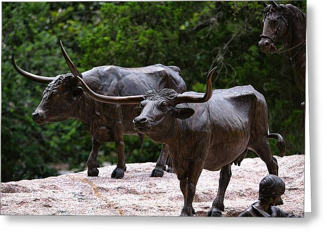 Brown Head Sculpture Greeting Cards - Close View Sculptured Longhorns Greeting Card by Linda Phelps