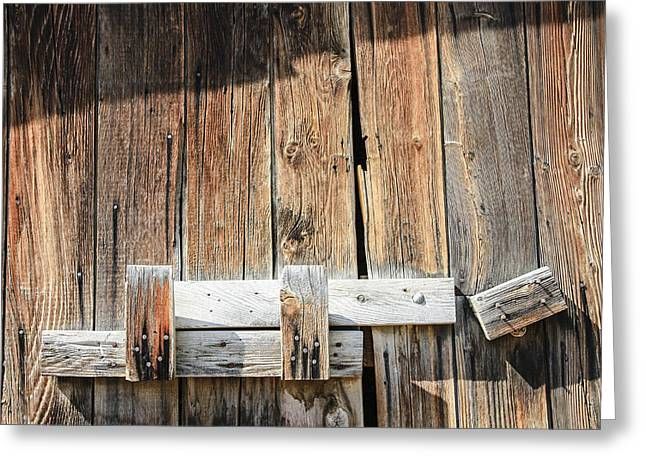Sunlit Door Greeting Cards - Closed Barn Door Greeting Card by David M Porter
