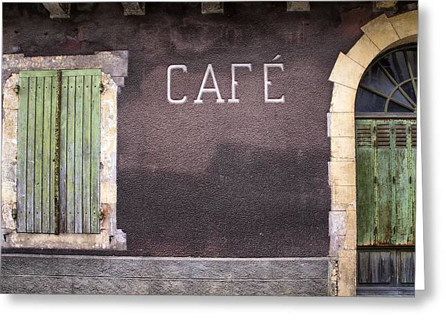 """south West France"" Greeting Cards - Closed Cafe in South-West France Greeting Card by Nomad Art And  Design"