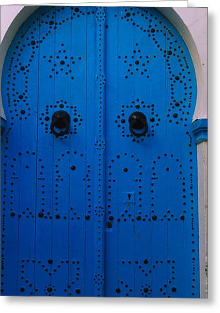 Tunisia Greeting Cards - Closed Door Of A House, Medina, Sousse Greeting Card by Panoramic Images