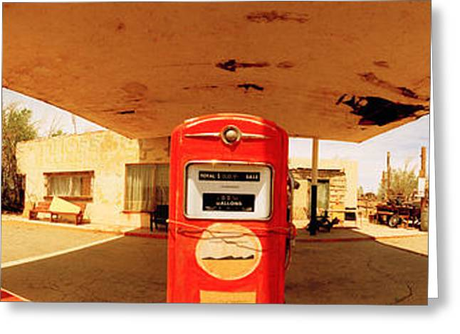 Fossil Images Greeting Cards - Closed Gas Station, Route 66, Usa Greeting Card by Panoramic Images