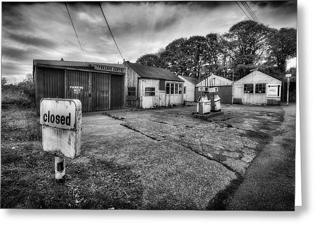 Petrol Station Greeting Cards - Closed Greeting Card by Jason Green
