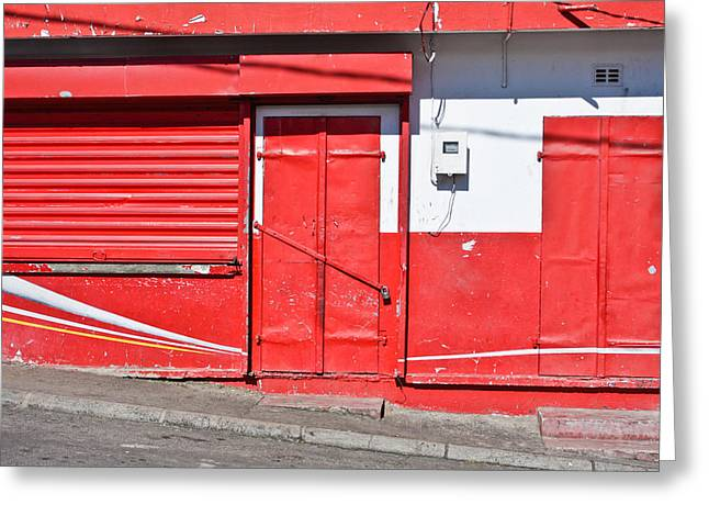 Weekend Photographs Greeting Cards - Closed store Greeting Card by Tom Gowanlock