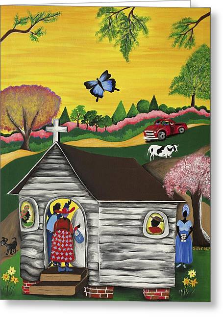 Gullah Art Greeting Cards - Closer to the Stars 2 Greeting Card by Patricia Sabree
