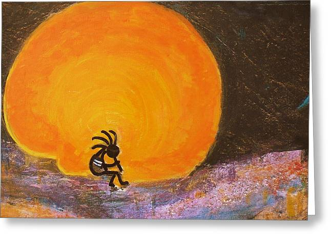 Lengendary Greeting Cards - Closer View Kokopelli on a Marmalade Moon Night Greeting Card by Anne-Elizabeth Whiteway