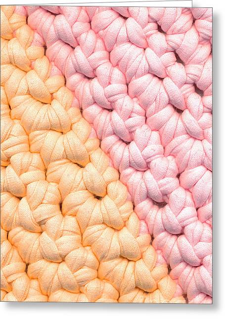 Ragged Tapestries - Textiles Greeting Cards - Closeup crochet rag rug Greeting Card by Kerstin Ivarsson