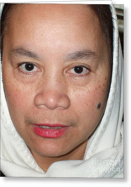 Beauty Mark Photographs Greeting Cards - Closeup of a Filipina Woman with a Mole on Her Cheek and Wearing a Scarf Greeting Card by Jim Fitzpatrick