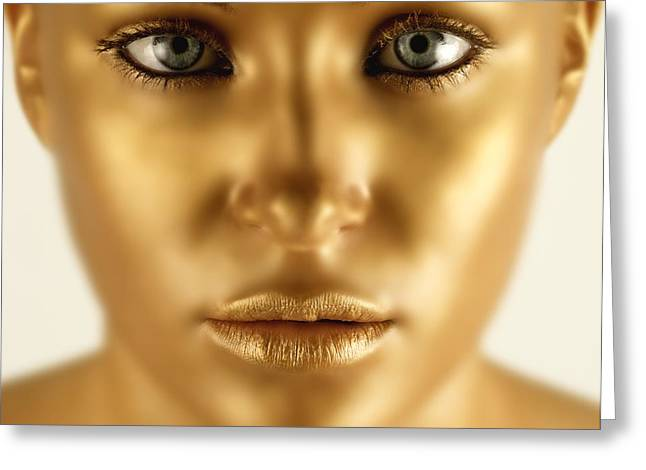 Statue Portrait Photographs Greeting Cards - Closeup Of A Golden Face Greeting Card by Darren Greenwood