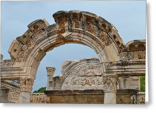 Domitian Greeting Cards - Closeup of Arches in Temple of Domitian in Ephesus-Turkey Greeting Card by Ruth Hager
